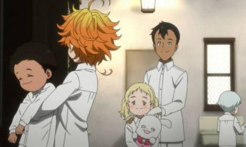 アニメ「約束のネバーランド」1話  エマと顔を合わせるドン